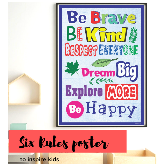 Bright Colored Motivational Poster , Six rules of life for kids to be happy