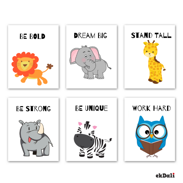 Animal Prints Motivational Message for Nursery ( Set of 6)