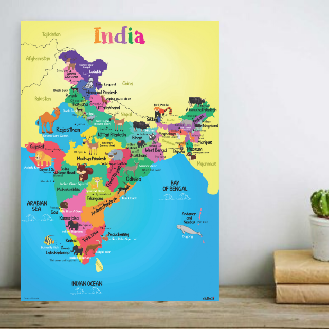 Wild Life depicted on India Map