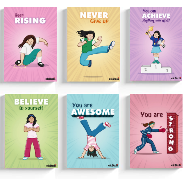 Super Power Girls Set of 6 motivational posters for Girls