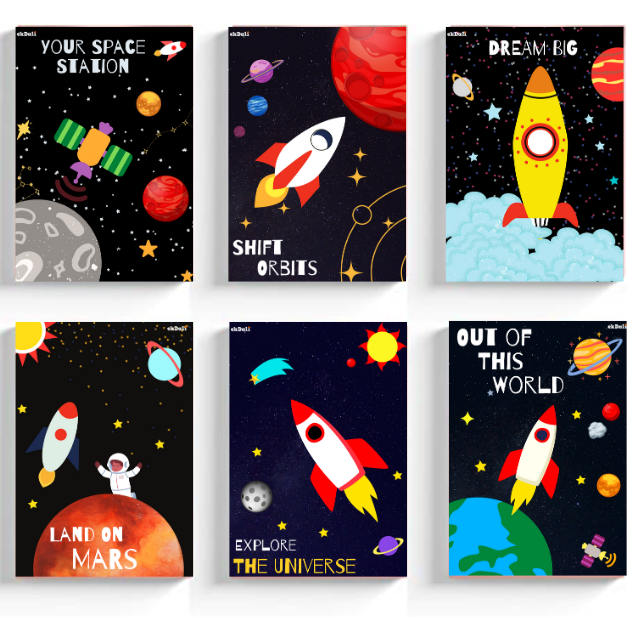 Outer Space prints for Kids Room ( 6 Pieces)